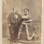 An albumen print of Tom Thumb and his wife, Lavinia.